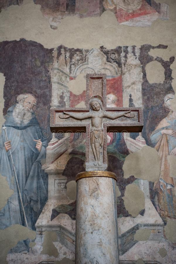 石十字架的,波隆纳,意大利大教堂被迫害的耶稣  库存照片