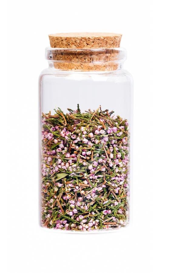 石南花在一个瓶的开花茶有黄柏停止者的 免版税库存图片