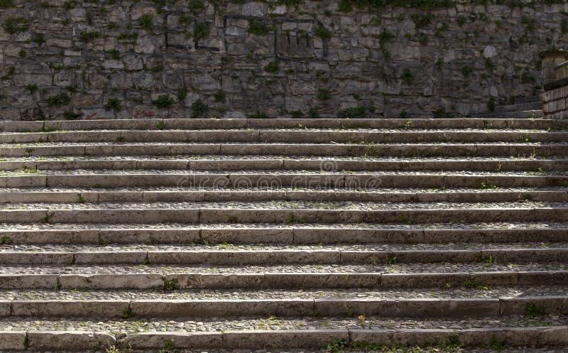 石台阶在布雷西亚 免版税图库摄影