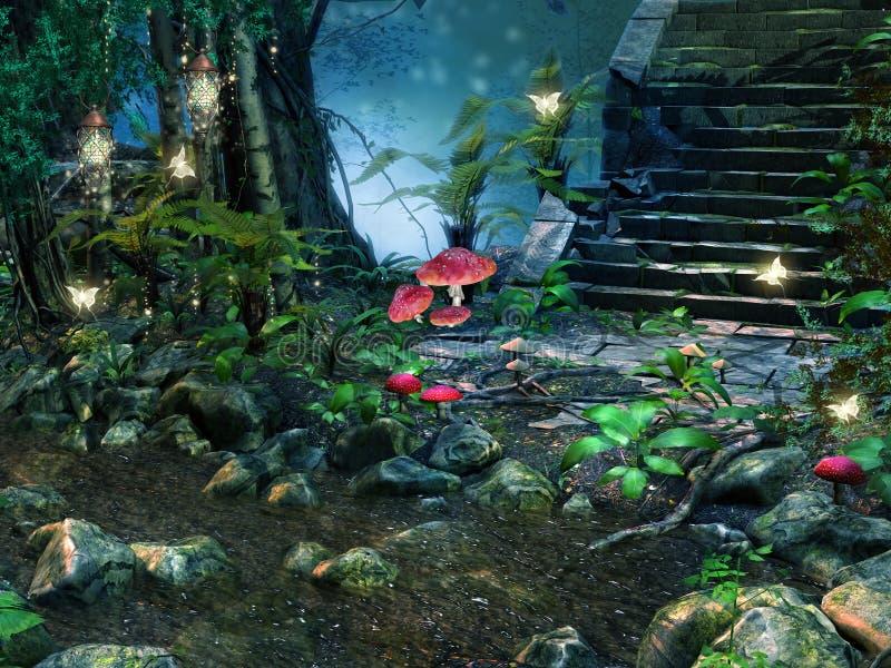 石台阶在森林里 皇族释放例证