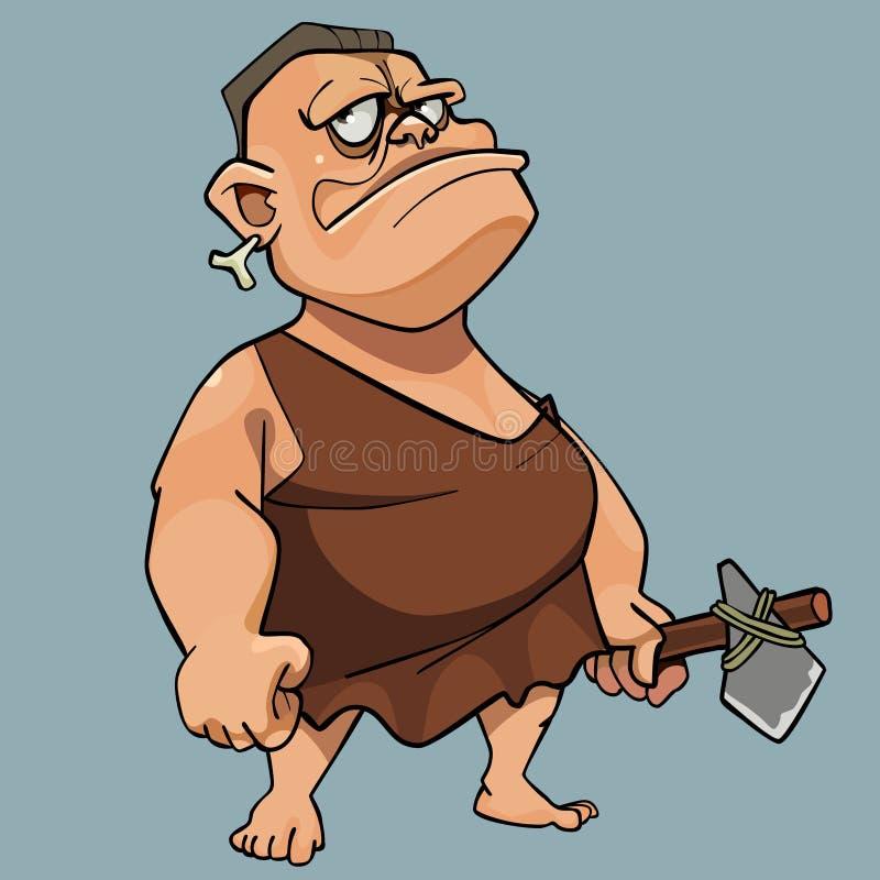 石器时期人礼服的动画片人有一个石轴的在他的手上 皇族释放例证