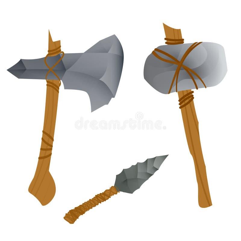 石器时期武器 皇族释放例证
