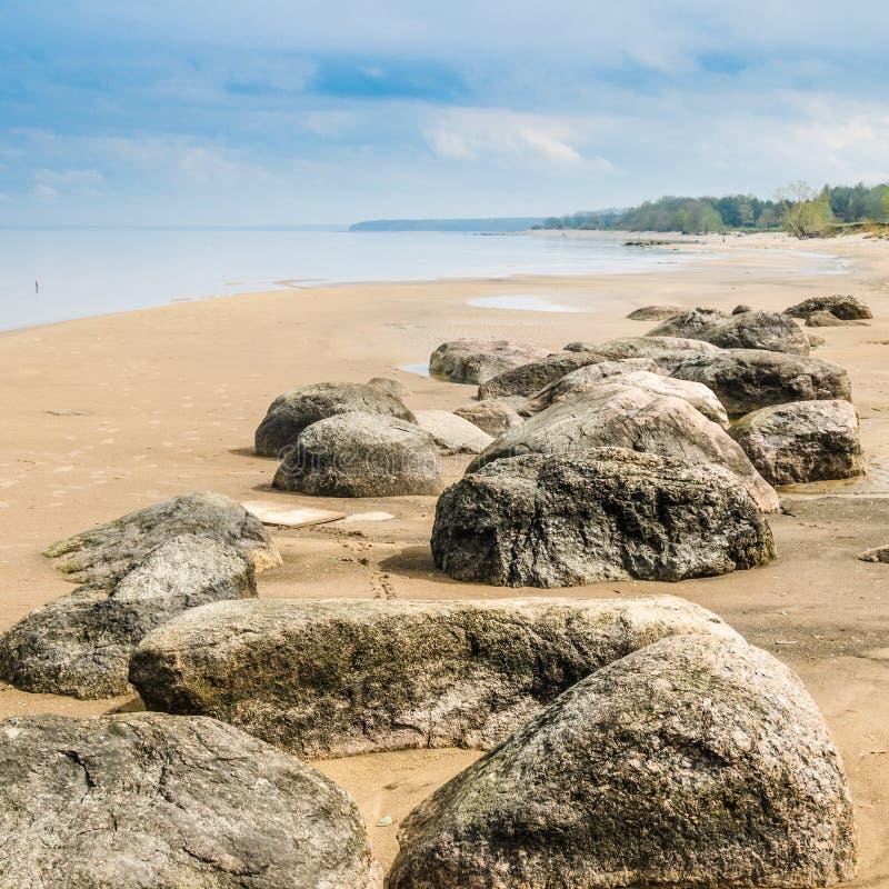 石在波罗的海海岸及早在早晨 图库摄影