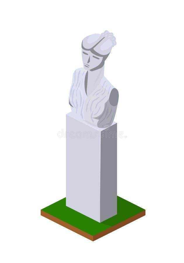 石垫座,人,巨大的纪念碑胸象,永恒在垫座 库存例证