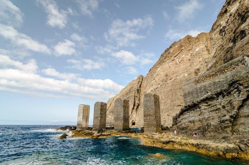 石塔在戈梅拉岛海岛,加那利群岛 免版税库存图片