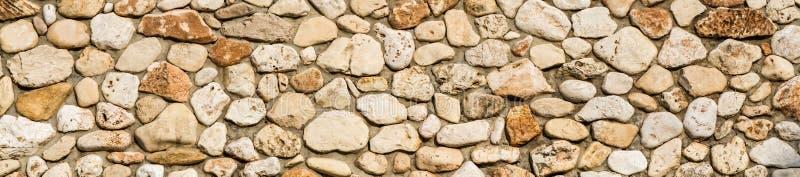 石墙纹理背景,石工全景  免版税库存图片