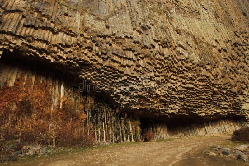 石头交响乐或玄武岩器官在Garni峡谷,亚美尼亚 免版税图库摄影