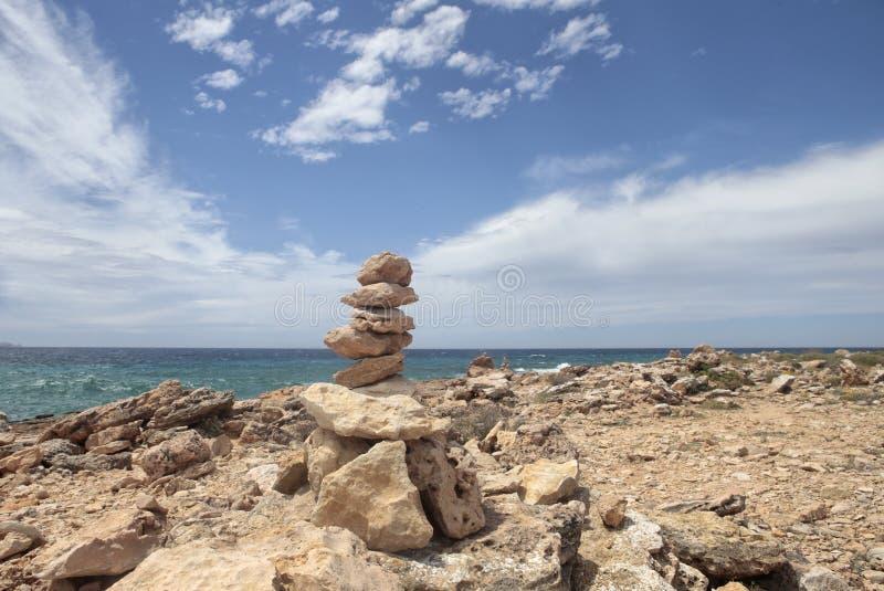 石头在majorca海岛的南海岸宽登上  库存图片