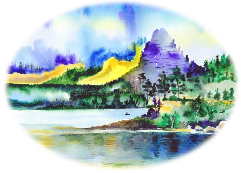 石头接近在水和树和山反映的湖 向量例证