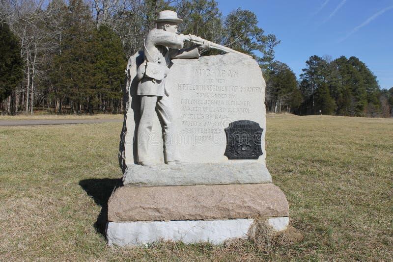石头的纪念碑在Chickamauga和加得奴加Natonal军事的停放 免版税库存图片