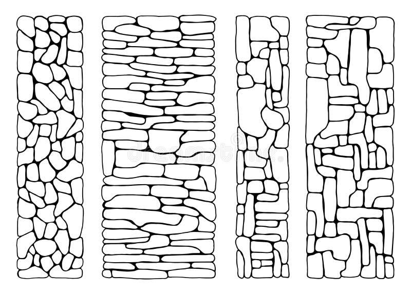 石头纹理 从砖被设置的传染媒介的墙壁 被铺的平的石头 库存例证