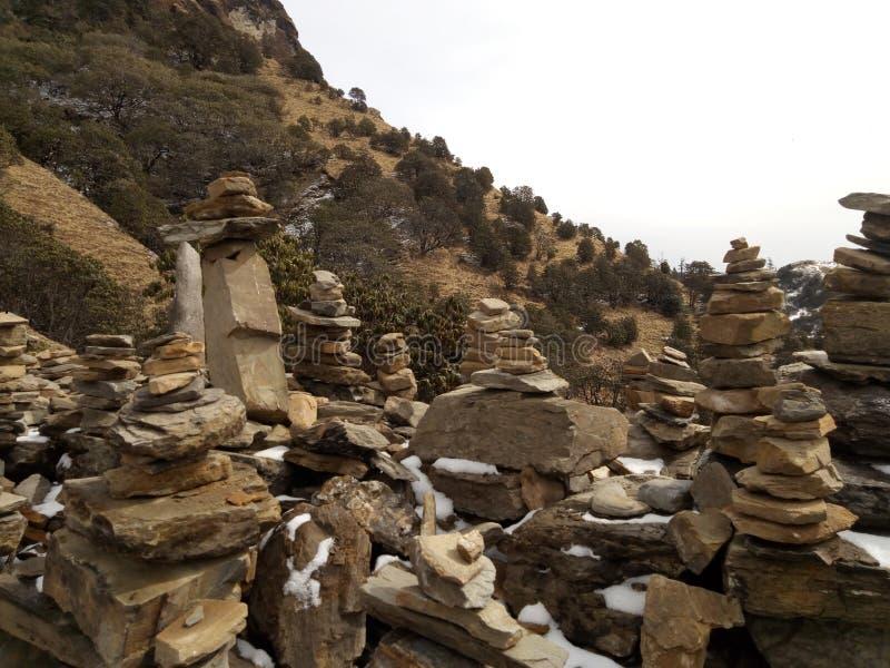 石头被做象房子在kalinchock尼泊尔kuri村庄 图库摄影