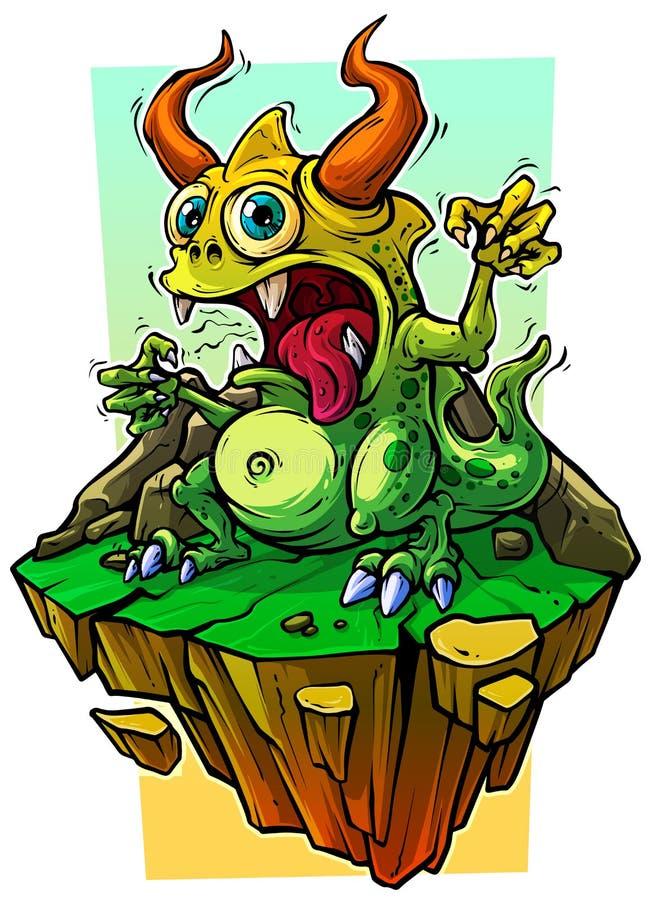 石岩石的动画片滑稽的绿色妖怪 皇族释放例证