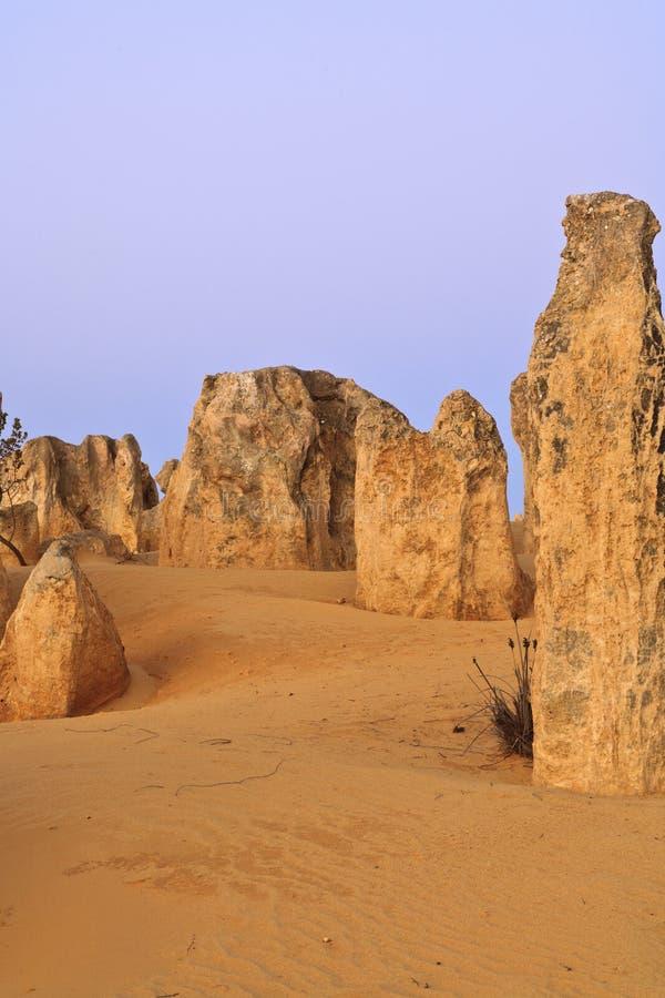 石峰在Nambung国家公园,西澳州离开 库存照片