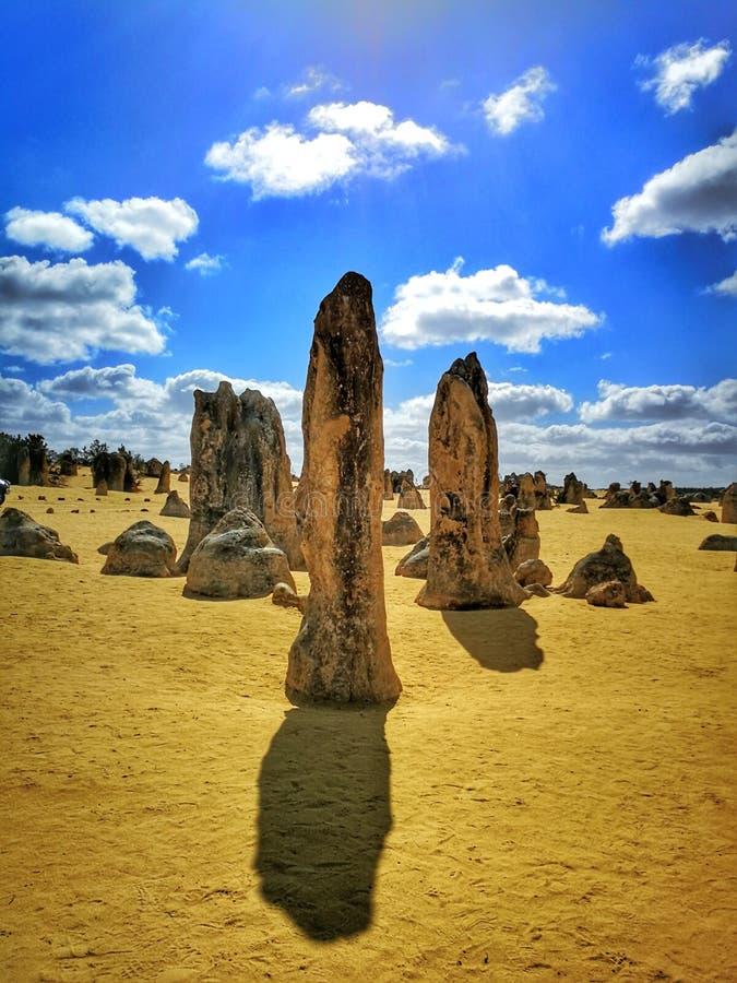 石峰沙漠,在Nambung国立公园内的石灰石形成, 免版税库存照片