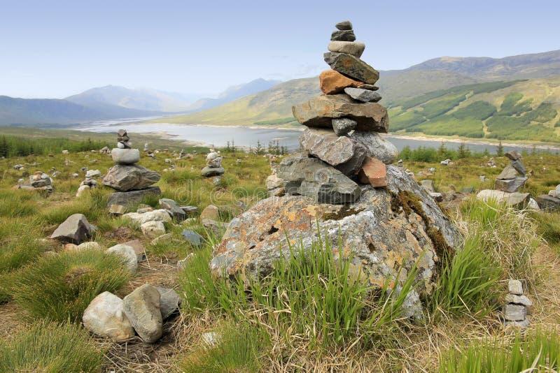 石标俯视苏格兰的高地海湾 库存图片
