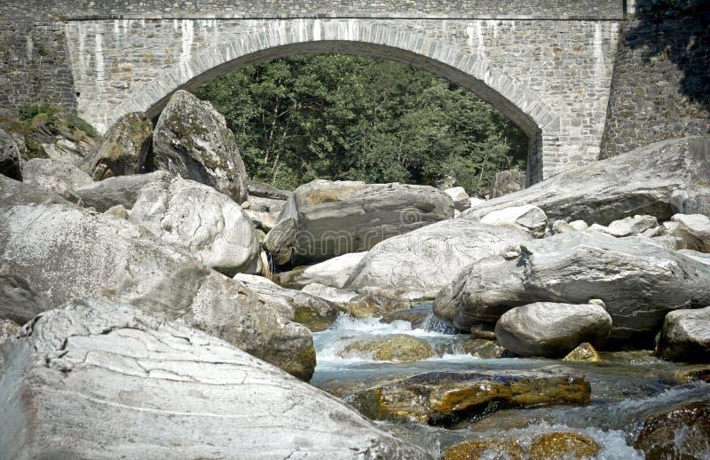 石桥梁,提契诺州,瑞士 免版税图库摄影