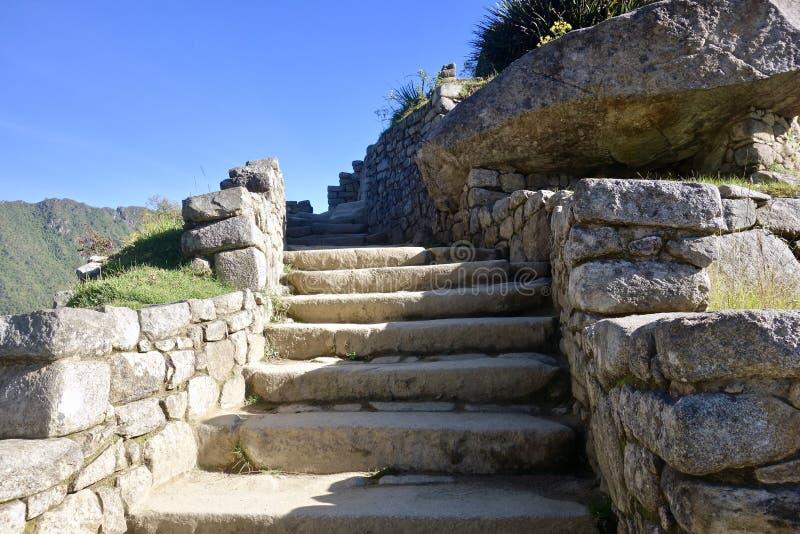 石楼梯,马丘比丘,秘鲁 免版税库存照片