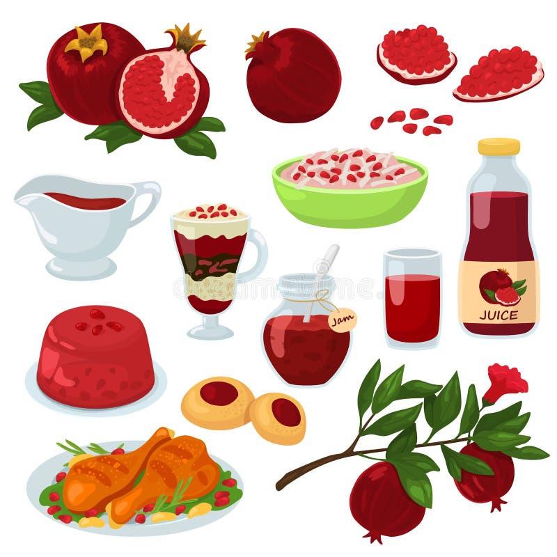 石榴传染媒介健康食物红色成熟果子石榴石和新水果的汁液果冻果酱例证套自然 向量例证