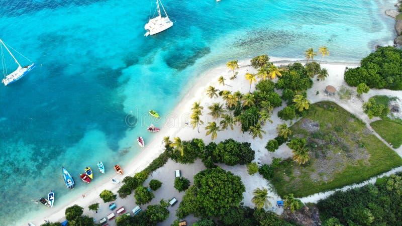 石榴汁糖浆的海岛,多巴哥岩礁 免版税库存图片