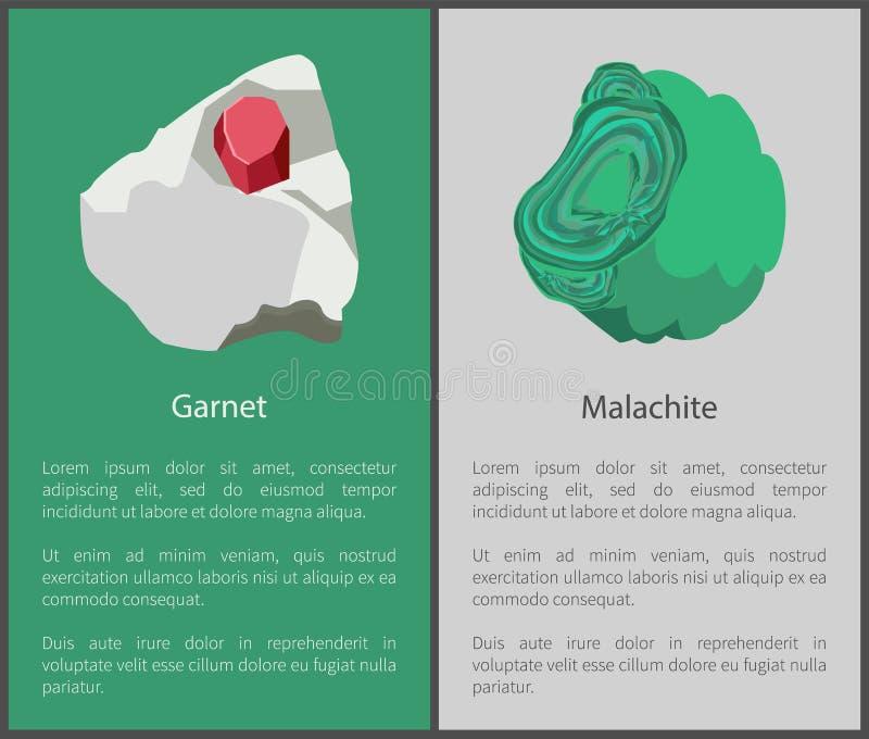 石榴石和绿沸铜氢氧化矿物,红色绿色 皇族释放例证
