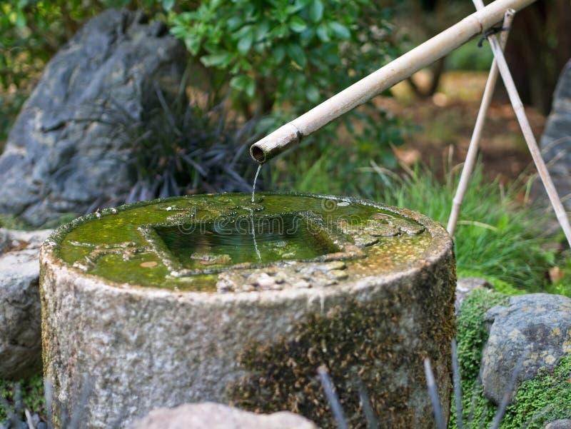 石水盆Tsukubai和在日本庭院的竹管子Kakei 库存图片