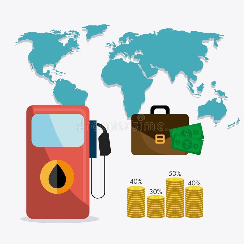 石油和油industric infographic 向量例证