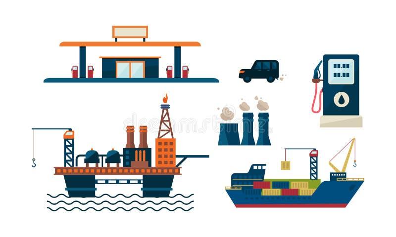 石油工业企业概念 石油平台、加油站、汽车、船和工厂平的vecroe设计  石油 皇族释放例证