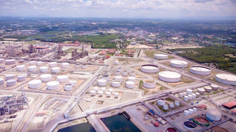 石油工业企业燃料贮存工厂区域o鸟瞰图  库存照片