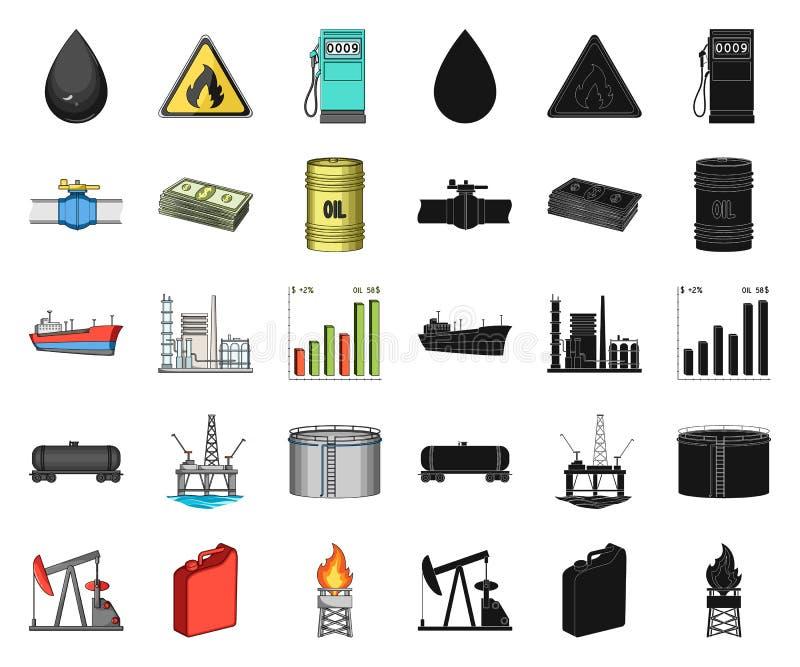 石油工业动画片,在集合收藏的黑象的设计 设备和石油生产导航标志储蓄图片