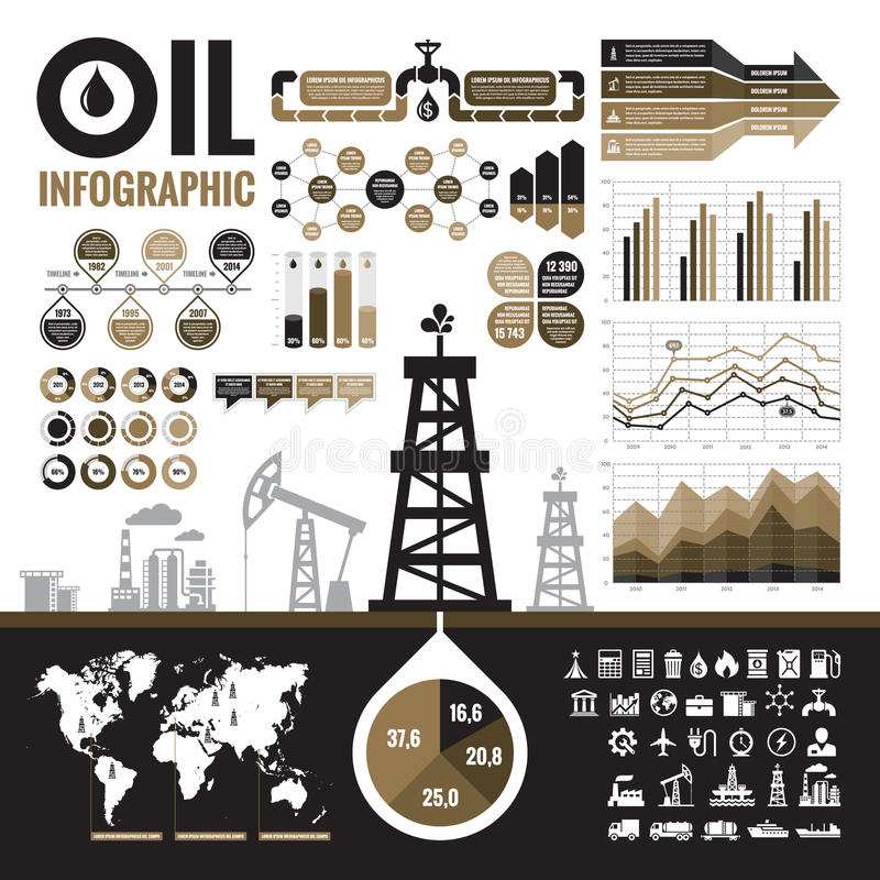 石油工业-导航介绍、小册子和其他设计项目的infographic元素 皇族释放例证