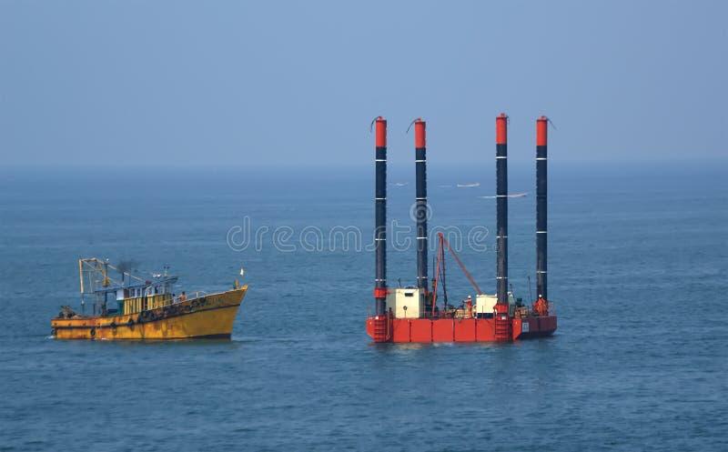 石油平台船具 库存照片