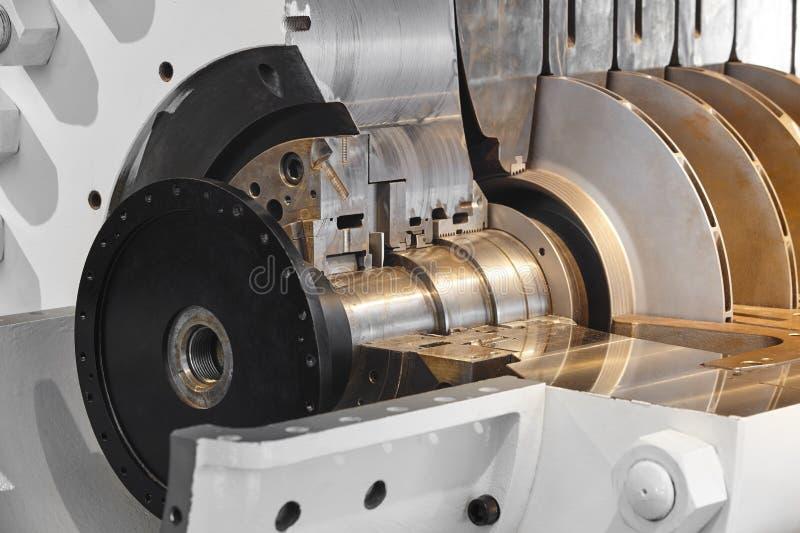 石油平台重的压气机机械细节 挪威 免版税库存照片