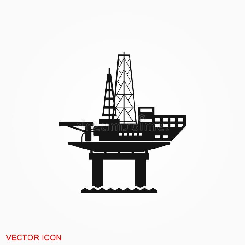 石油平台iconfuel生产商标,例证,设计的标志标志 库存例证