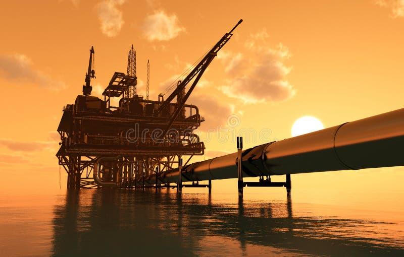 石油生产和管子 库存例证