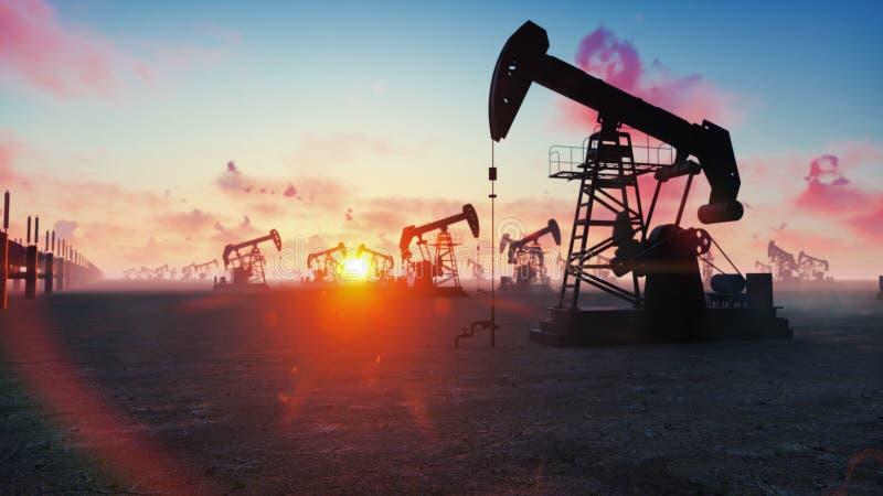 石油的泵浦起重器工业机械在日出 泵浦起重器泵浦工作油的剪影反对红色天空的 免版税库存图片