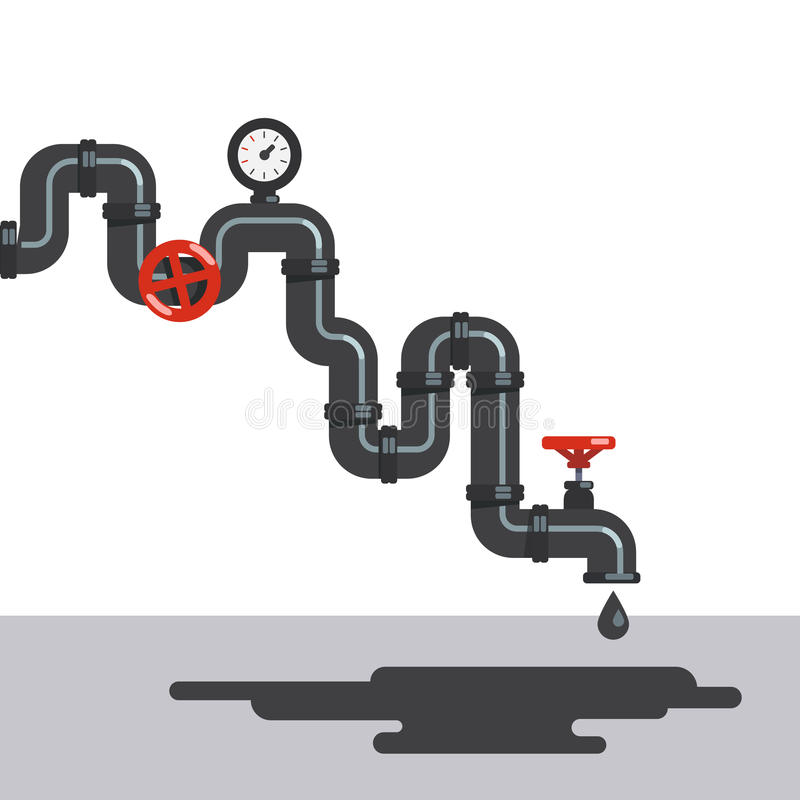 石油从管道轻拍的燃料水滴 向量例证
