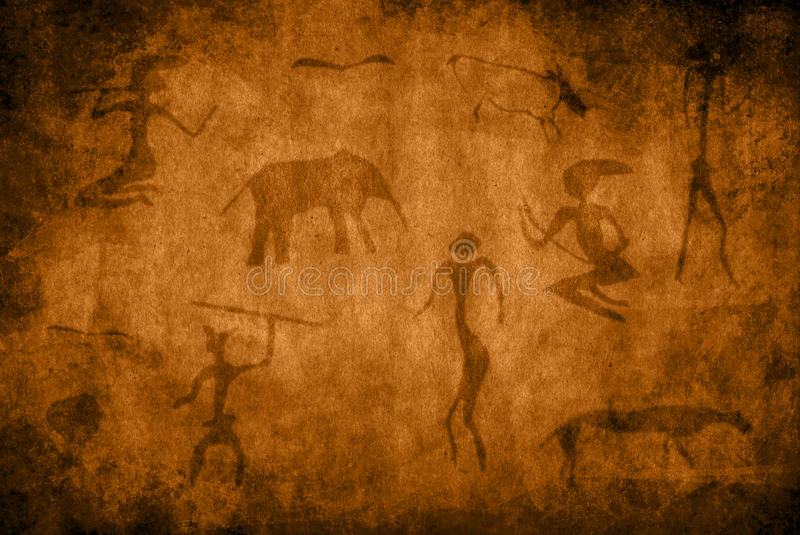 石洞壁画 库存图片