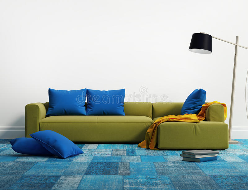 石灰典雅的现代沙发内部