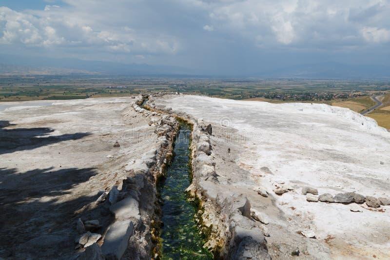 石灰华水池和大阳台在棉花堡,土耳其 图库摄影