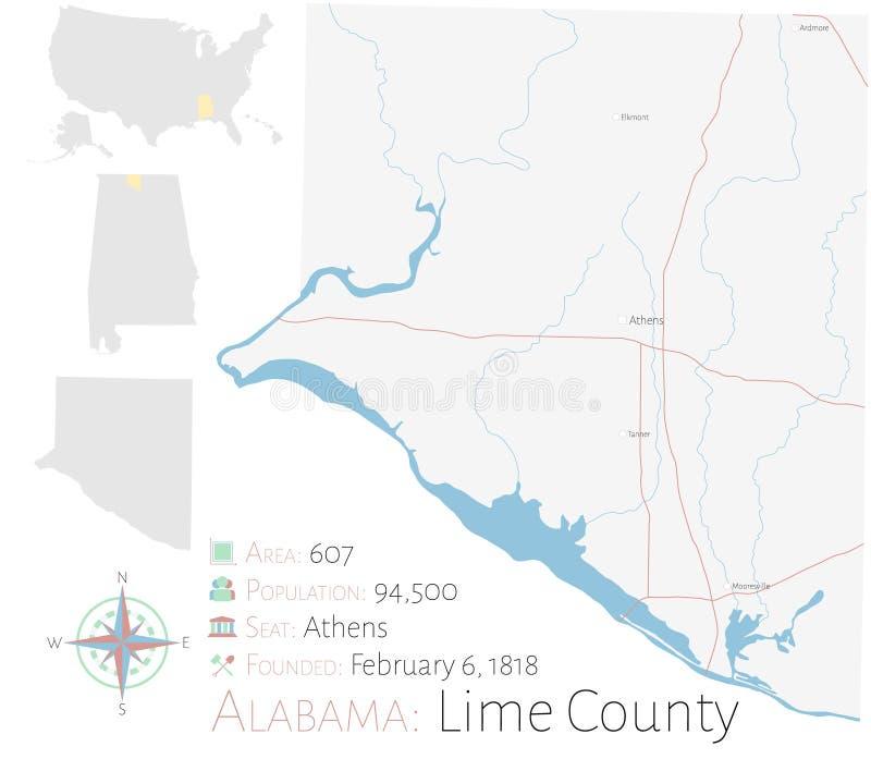 石灰县地图在阿拉巴马 向量例证