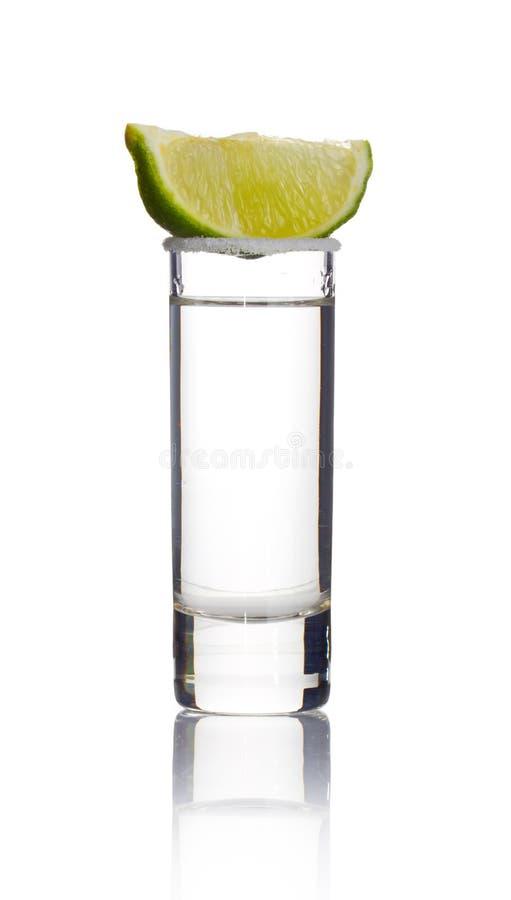 石灰射击片式龙舌兰酒白色 库存图片