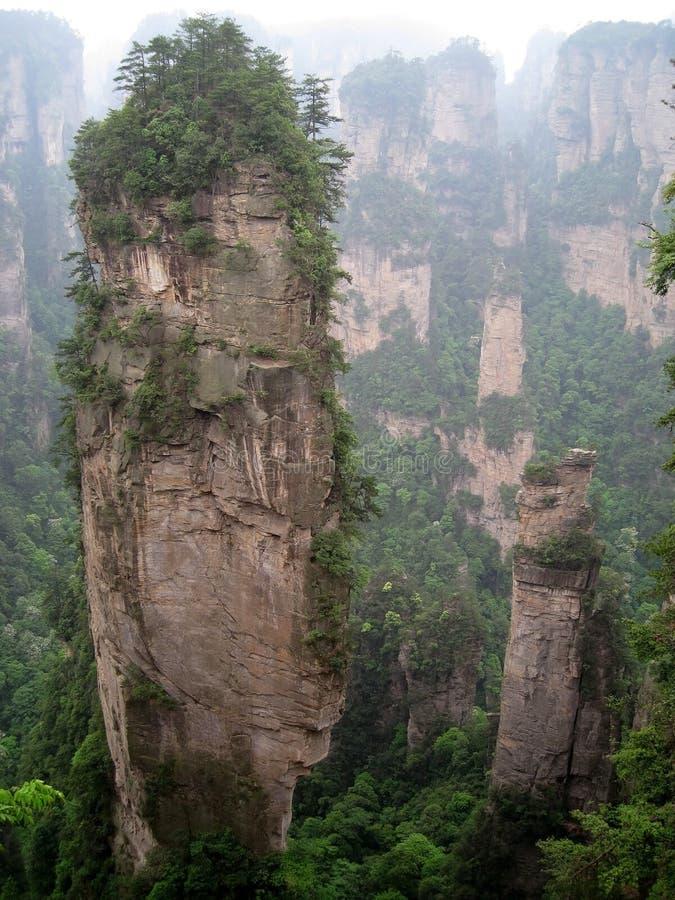 石灰岩地区常见的地形小山在森林 图库摄影