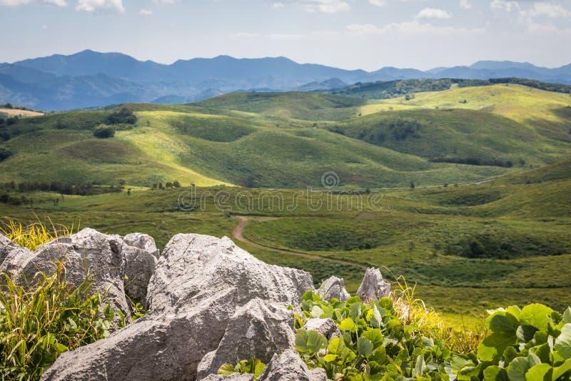石灰岩地区常见的地形柱子和风景与污水池 库存图片
