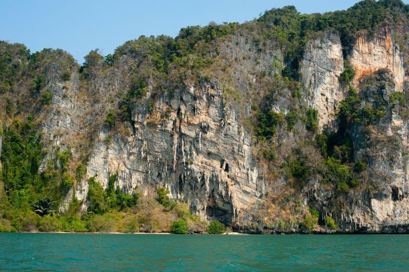 石灰岩地区常见的地形热带海岛石灰石结构有森林的Pranan 免版税库存照片