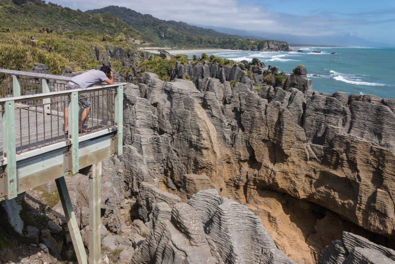 石灰石在普纳凯基的岩层 免版税库存图片