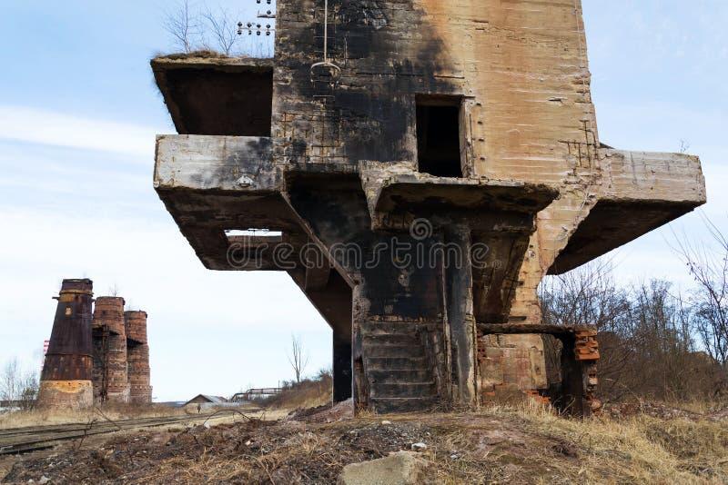 石灰窑在Kladno,捷克,全国文化纪念碑 免版税库存照片