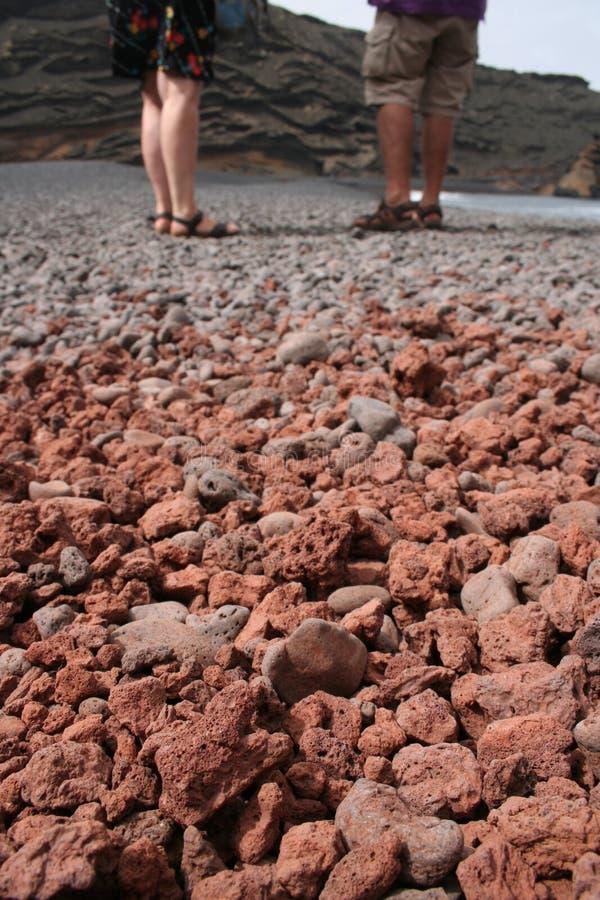 石熔岩被研在兰萨罗特岛 库存照片