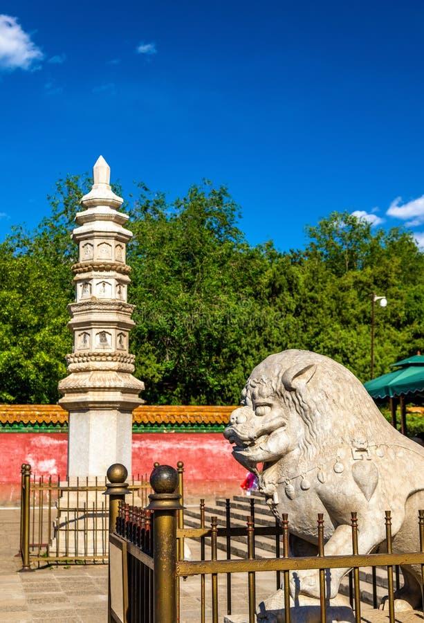 石狮子和塔四个伟大的地区寺庙的-颐和园,北京 库存照片
