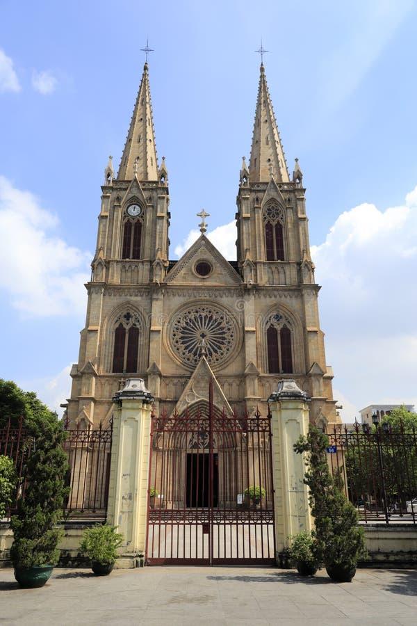 石狮神圣的心脏大教堂,广州市,瓷 免版税库存图片
